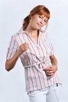 Блуза-рубашка для кормления серебристо-желтые полоски