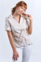 Блуза-рубашка для кормления серебристо-розовые полоски