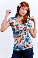 Блуза-болеро для кормления сине-красная